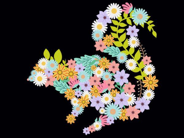 Squirrel Flower Tshirt Design