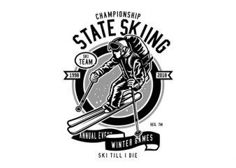 State Skiing Tshirt Design