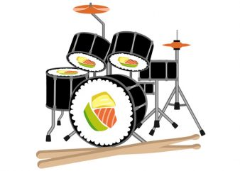 Sushi Drum Tshirt Design