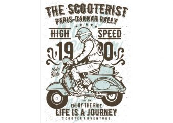 The Scooterist 1980 Graphic t-shirt design