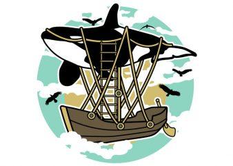 Whale Air Balloon Tshirt Design