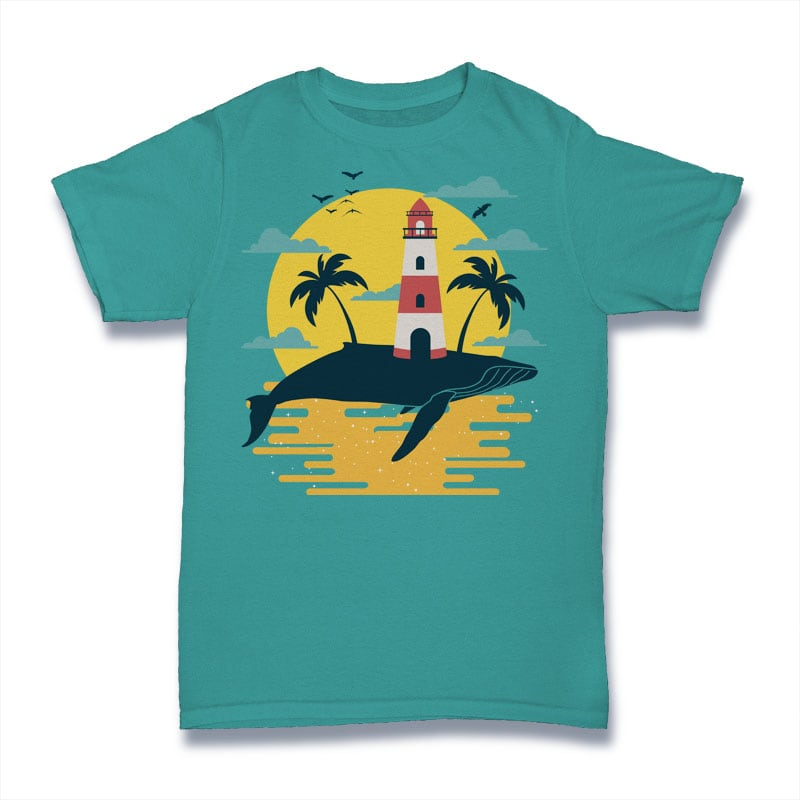 Whale Lighthouse Tshirt Design tshirt designs for merch by amazon