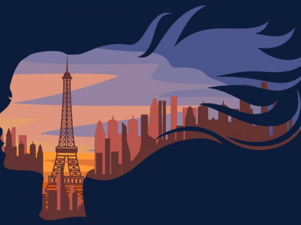 Woman In Paris Tshirt Design