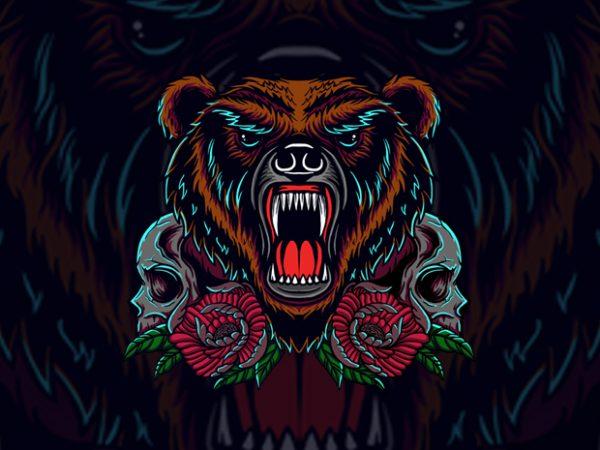 bear and skull vector t shirt design artwork