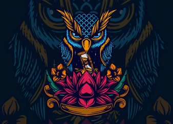 owl and lotus vector t shirt design artwork