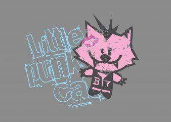Little Punk Cat t shirt vector graphic