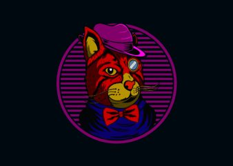 kitty illusiration tshirt design vector