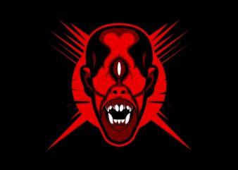 monster head tshirt design vector