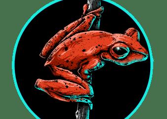 neon frog T shirt vector artwork