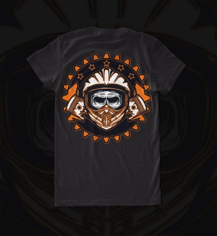 dead skull motocross t shirt designs for printify