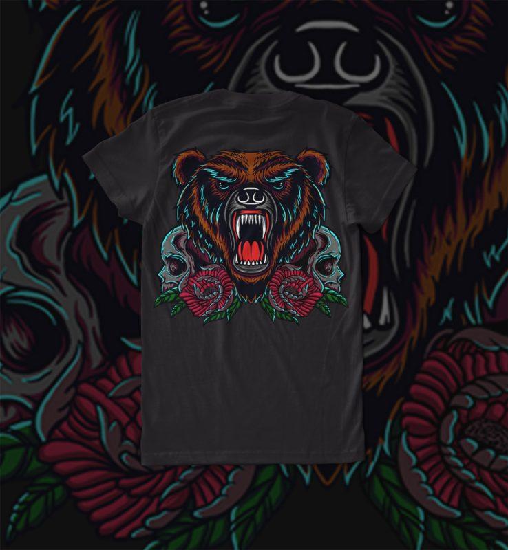 bear and skull tshirt design for sale