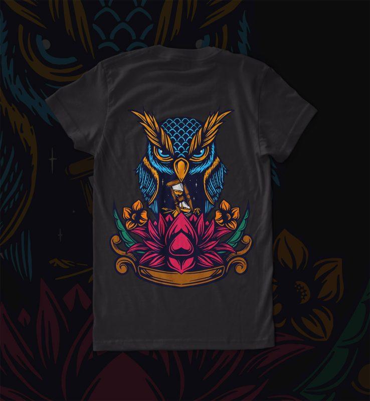 owl and lotus vector t shirt design artwork - Buy t-shirt ...