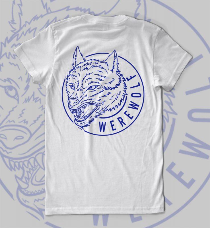 Werewolf Vector T Shirt Design For Download