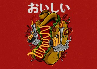 cowboy hotdog Graphic t-shirt design