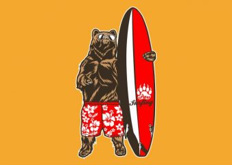 bear surfer t shirt template