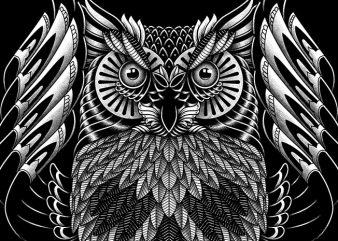 Owl Skull Ornate t-shirt design png