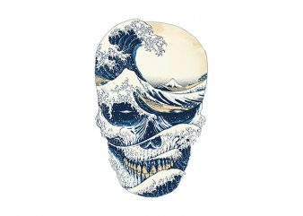 The Great Wave off Skull buy t shirt design for commercial use