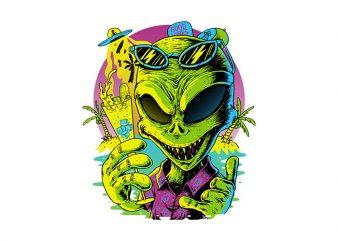 Alien Summer Vibes t shirt vector