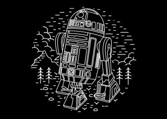Black Droid vector t-shirt design template