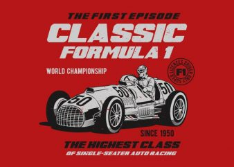 Classic F1 t shirt vector file
