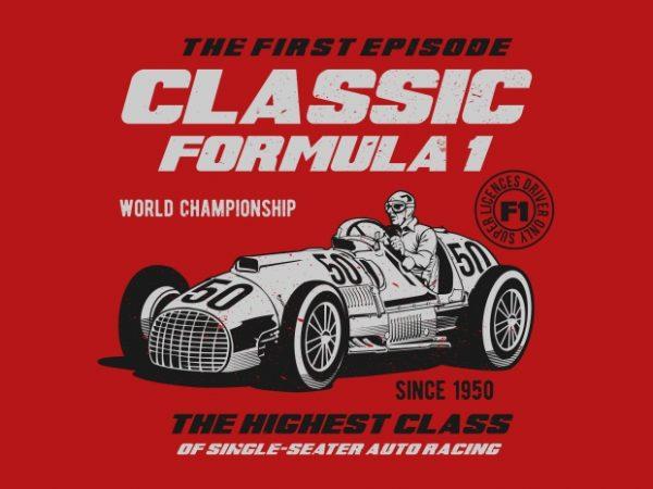 Classic F1 t shirt vector file