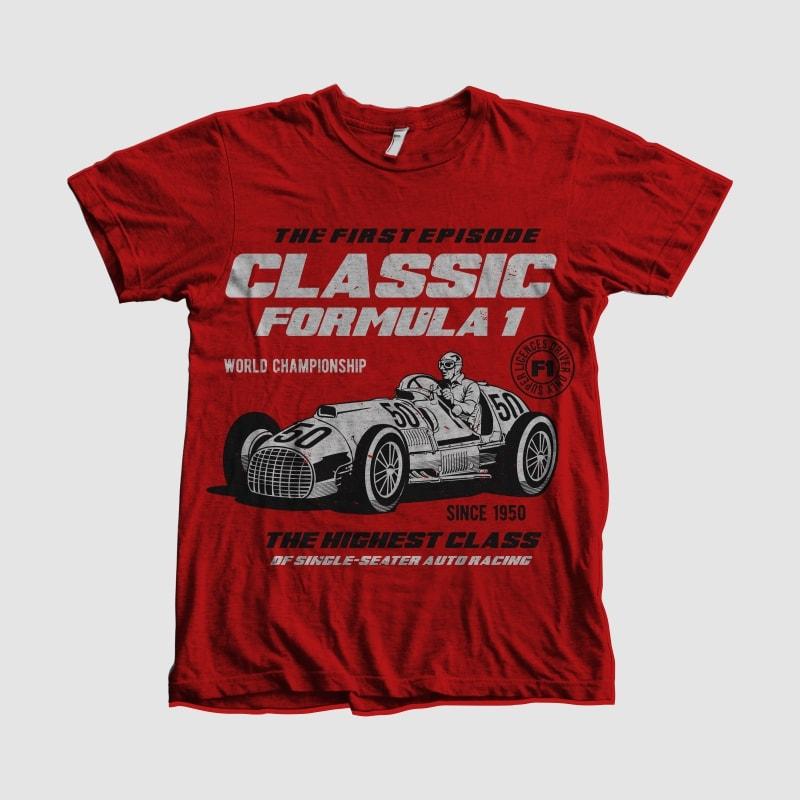 Classic F1 tshirt design for sale
