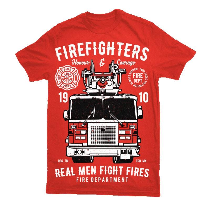 Firefighters Truck Vector t-shirt design tshirt-factory.com