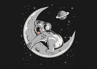 Koala Sleep in the moon vector t-shirt design for commercial use