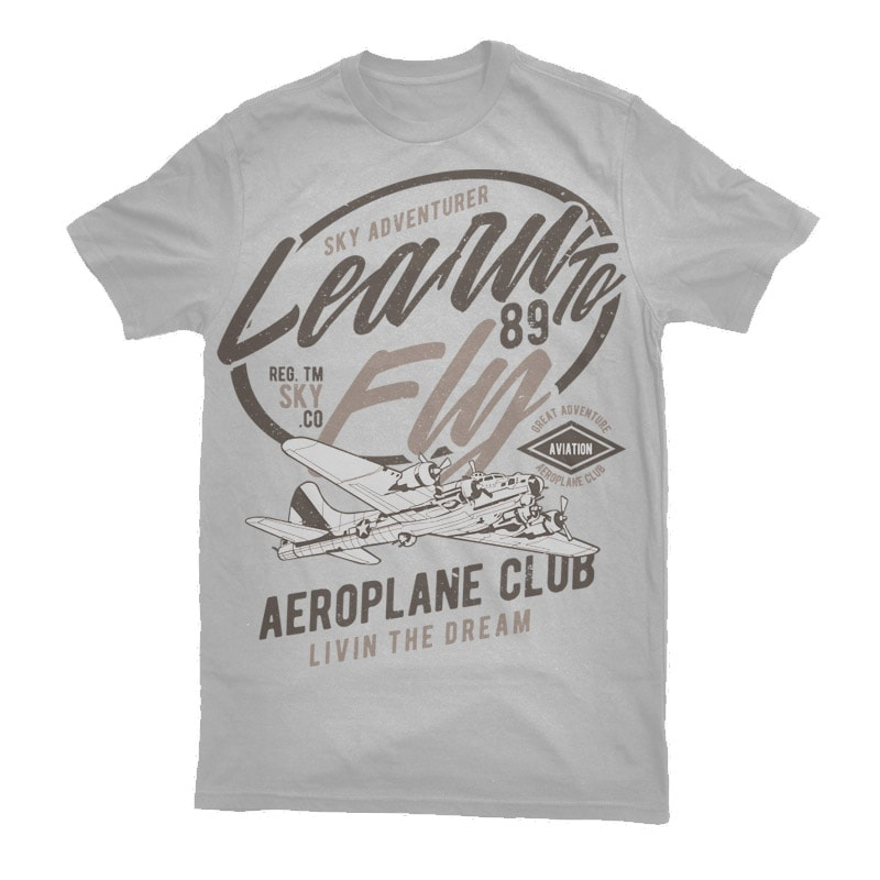 Learn To Fly Vector t-shirt design buy t shirt designs artwork