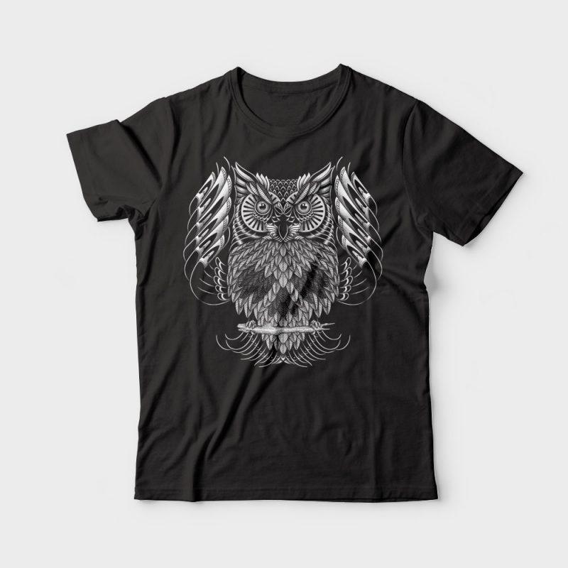 Owl Skull Ornate tshirt design for sale