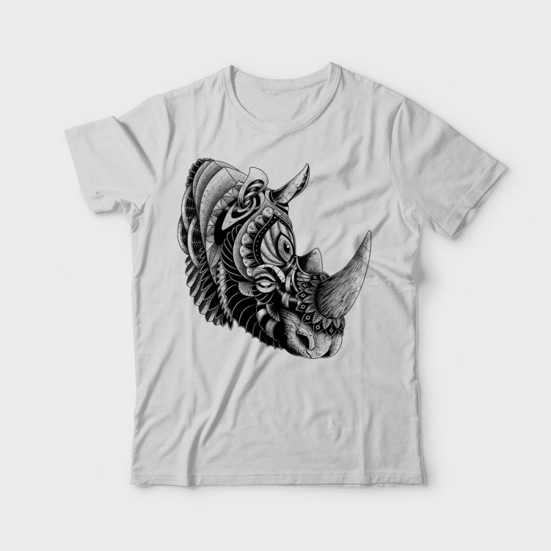 Rhino Ornate vector t shirt design