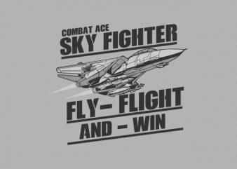 SKY FIGHTER t shirt template vector