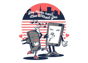 SMARTPHONE IN LOVE vector t shirt design for download