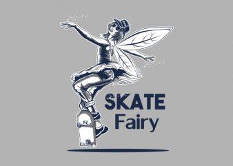 Skate Fairy t shirt template vector
