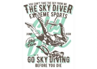 Sky Diver Vector t-shirt design