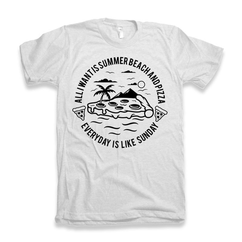 Summer Beach and Pizza tshirt-factory.com