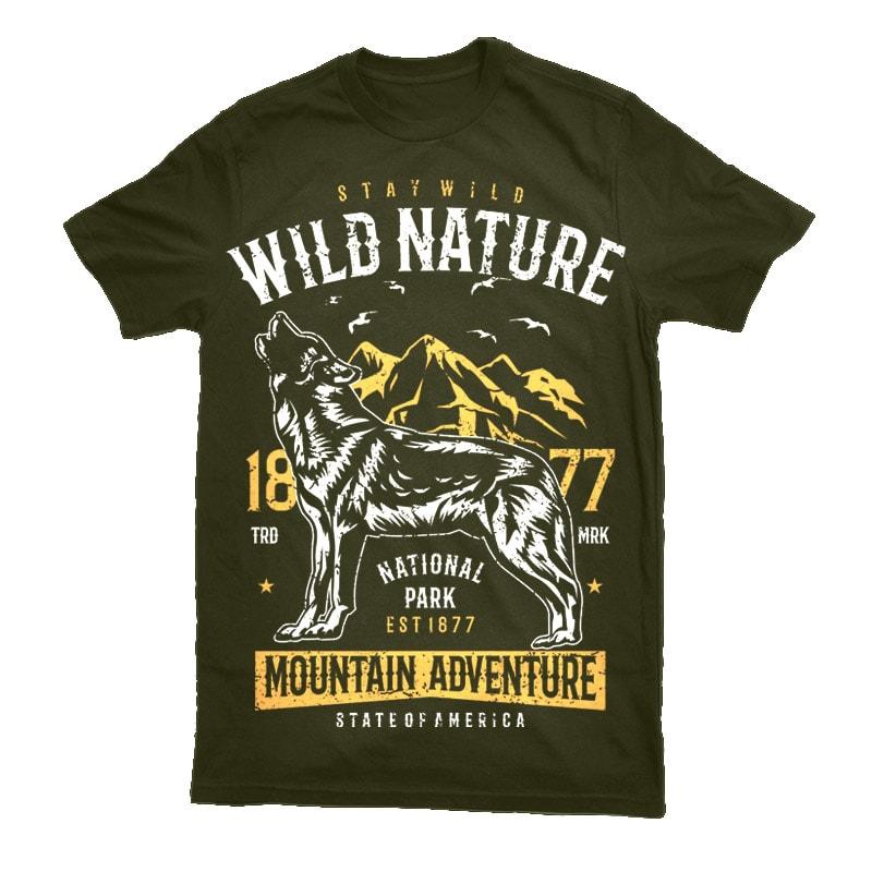 Wild Nature Vector t-shirt design t shirt designs for merch teespring and printful