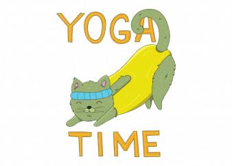 Yoga time cute cat doing kitten sport t shirt printing design