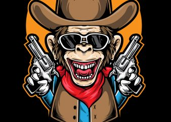 Ape Cowboy buy t shirt design for commercial use