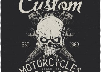 Custom motorcycles garage. Vector T-Shirt Design