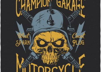 Champion garage. Vector T-Shirt Design
