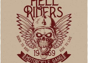 Hell Riders. Vector T-Shirt Design
