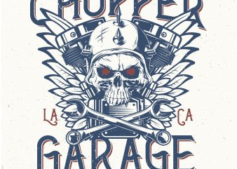 Chopper Garage. Vector T-Shirt Design