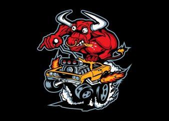 bull ride print ready shirt design