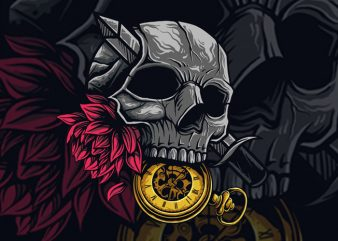 knife head and rose t-shirt design