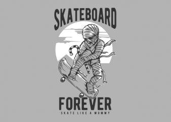 MUMMY SKATEBOARD t shirt design for sale