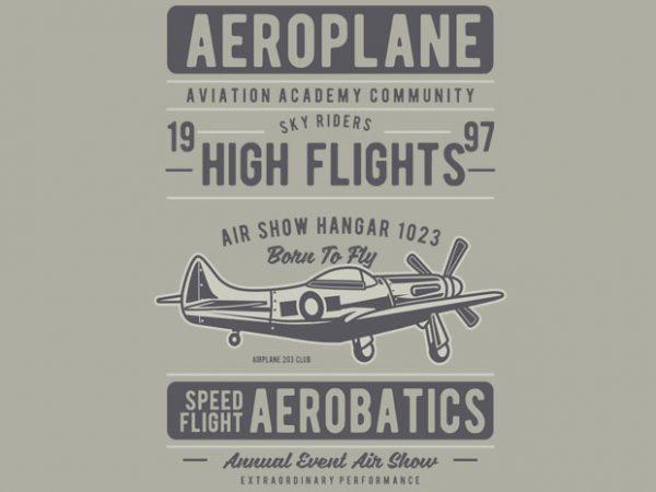 Aeroplane vector t-shirt design template