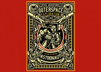 Astronaut Outerspace Exploration t shirt design for sale