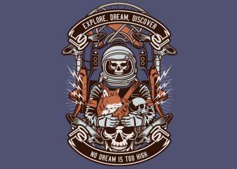 Astronaut Skull t shirt vector