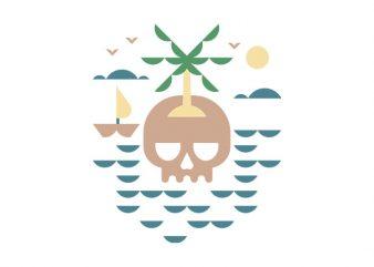 Skull Island t shirt template vector